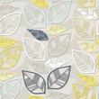 błękitne szare żółte liście na szarym tle nieskończony deseń