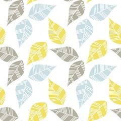 błękitne brązowe żółte liście nieskończony deseń