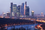 Panorama of Moscow nightlife. The view from the top poster