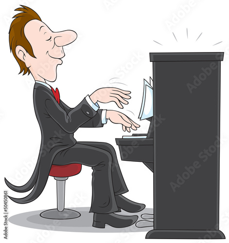 Pianist plays the piano