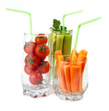 Glasses with fresh vegetables