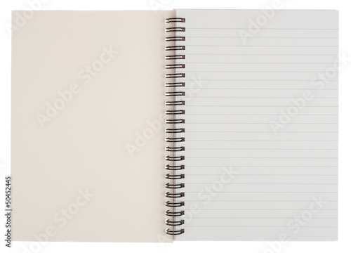 Open Spiral Bound Notepad Isolated on White