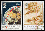 Britain Postage Stamps showing the Greenwich Meridian Time Line