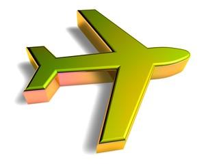 3D Goldzeichen - Flugzeug