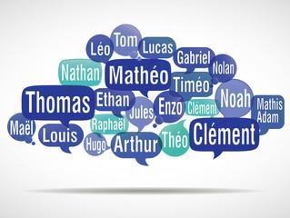 nuage de mots bulles : prénoms de garçons