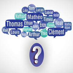 nuage de mots bulles deviner : prénoms de garçons