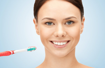 beautiful woman with toothbrush