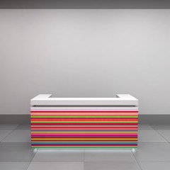 striped reception counter