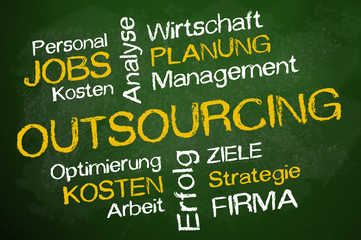 Kreidetafel mit OUTSOURCING