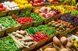 Fruit market with various colorful fresh fruits and vegetables - 50455077