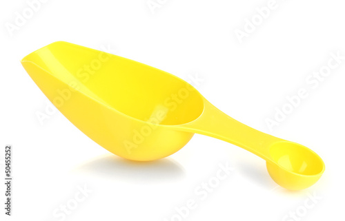 Empty measuring cup for washing powder isolated on white