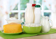 Dairy products on table in kitchen