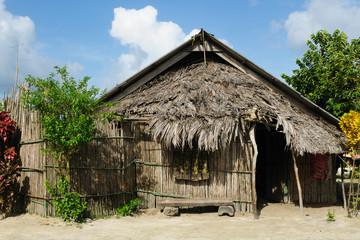 Panama, traditional house of the San Blas archipelago