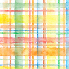 Watercolor seamless checkered pattern. Hand painted background.
