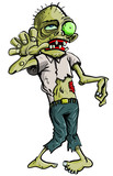 Cartoon Zombie grasping forward, isolated on white poster