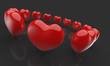 Rote 3D Herzen im Kreis Schwarz Rot 2