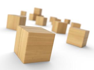 Verteilte Holzklötze isoliert 3