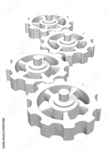 Vier Zahnräder Weiß isoliert 1