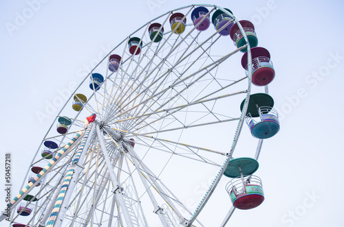 big wheel with multicolored cabins