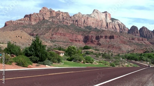 Cars at Zion Canyon Scenic Drive. Utah, USA