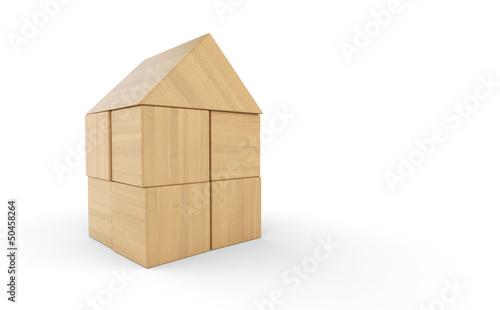 Kleines Holzhaus aus Bauklötzen isoliert 3