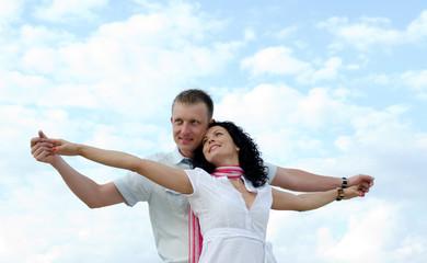 Beautiful couple celebrating the joy of life