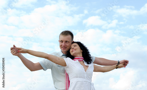Beautiful couple celebrating the joy of life