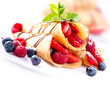 Crepes With Berries over White