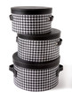 Set of houndstooth check and black leather bandboxes - 50459661