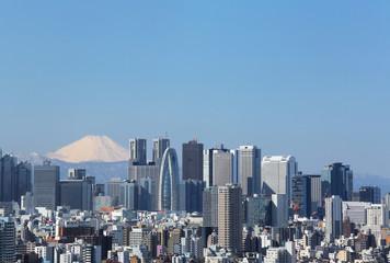 東京都心から富士山を望む