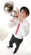 Portrait of a young man playing his Trumpet music lover