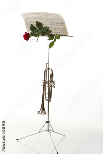 red rose, old notes Sheet and trumpet - music