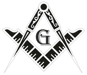 Freemasonry emblem - the masonic square and compass symbol,