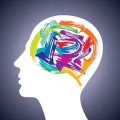 human head thinking. making from brush stocks