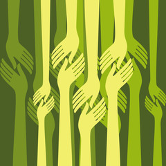 group of hands shake