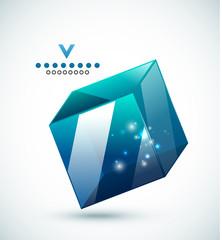 Modern 3d vector glass cube design template