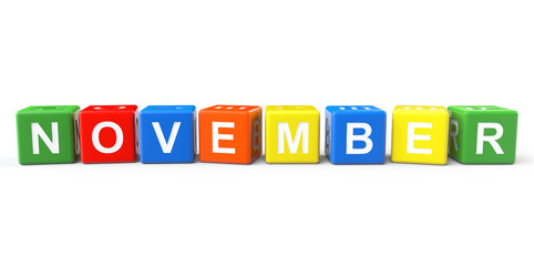 Cubes with November sign
