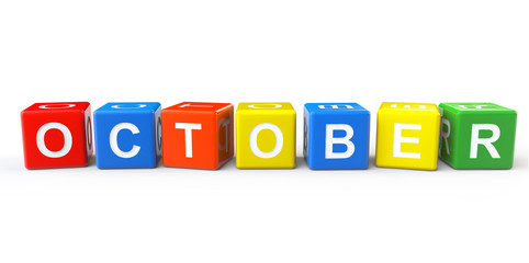Cubes with October sign