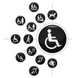 Disability related icon set
