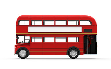 Red Double Decker Bus Isolated on White Background