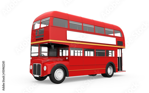 Deurstickers Londen rode bus Red Double Decker Bus Isolated on White Background