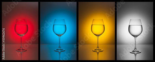 Assorted colorful glasses of water for your design. Collage