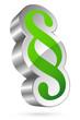 3D Paragraph Icon Green/Silver