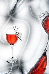 Red wine and heart decorations