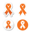 Orange ribbon - leukemia, hunger,  animal rights sign