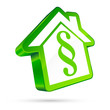 3D House Icon Paragraph White/Green