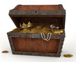 Pirates Chest Full of Loot on a White Background