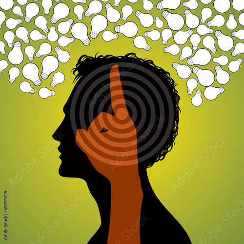 human head with set of bulb, business concept