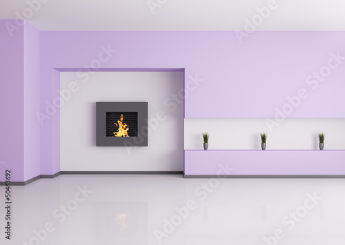 Empty interior with fireplace 3d render