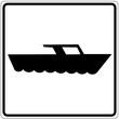 Schild weiß - Motorboot